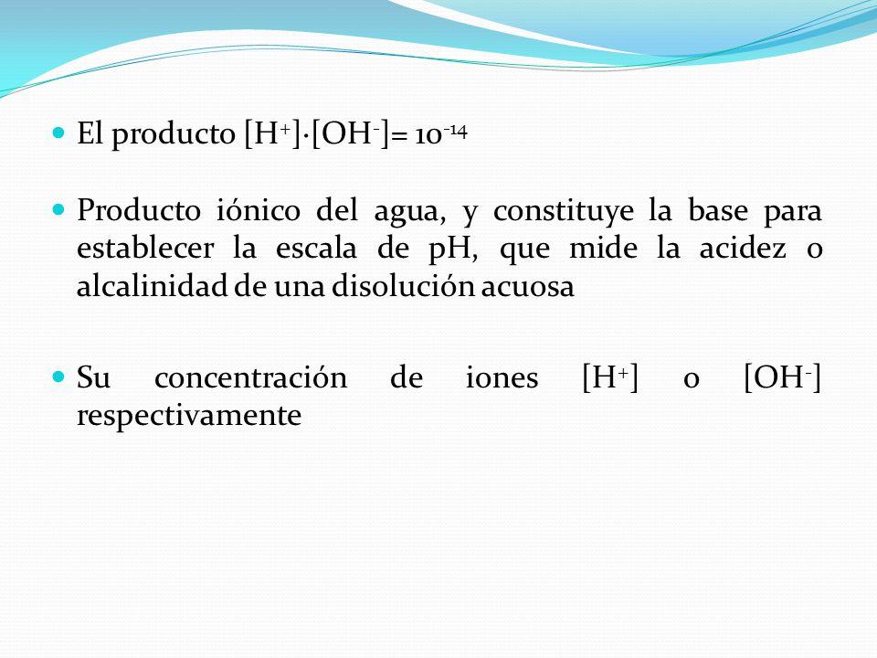 El producto [H+]·[OH-]= 10-14